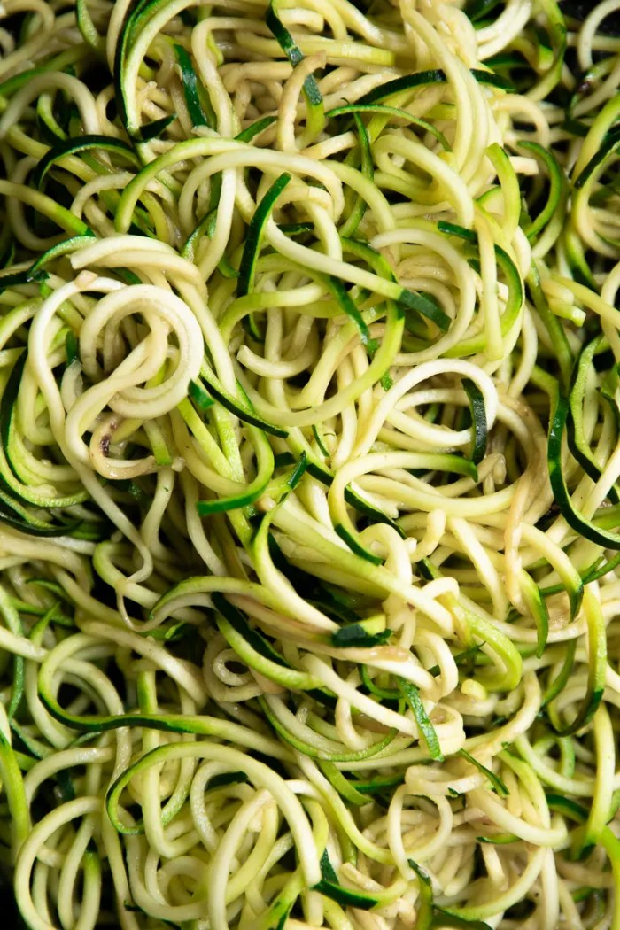 Cooked zucchini noodles.