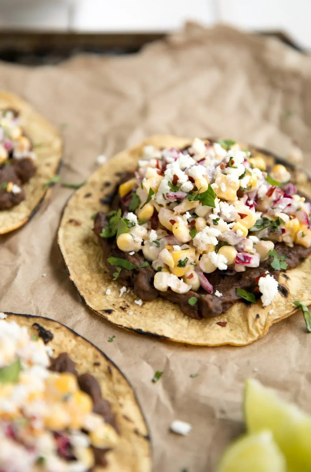 Mexican Street Corn Tostadas with Chipotle Black Beans
