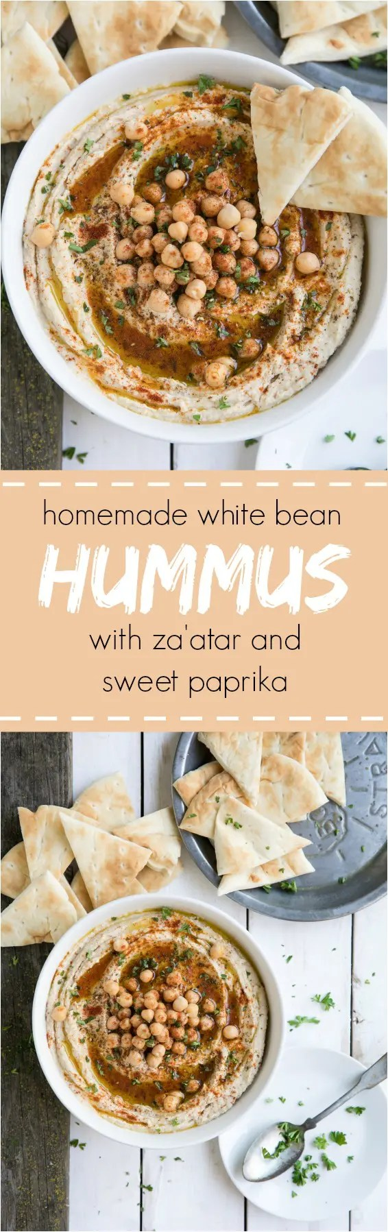 Homemade White Bean Hummus with Za\'atar and Sweet Paprika. #hummus #chickpea #dip #side #appetizer