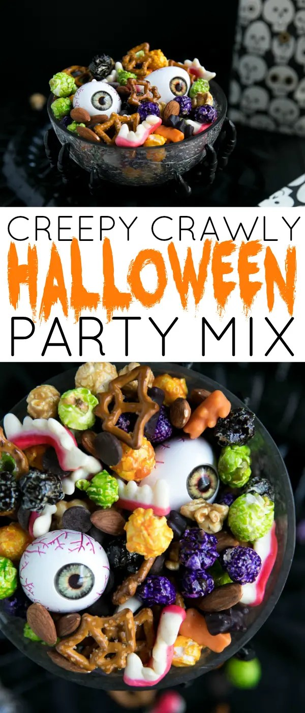 Halloween Monster Mash Party Mix - just 5 minutes to mix together. #halloween #snacks #party #holiday #entertaining