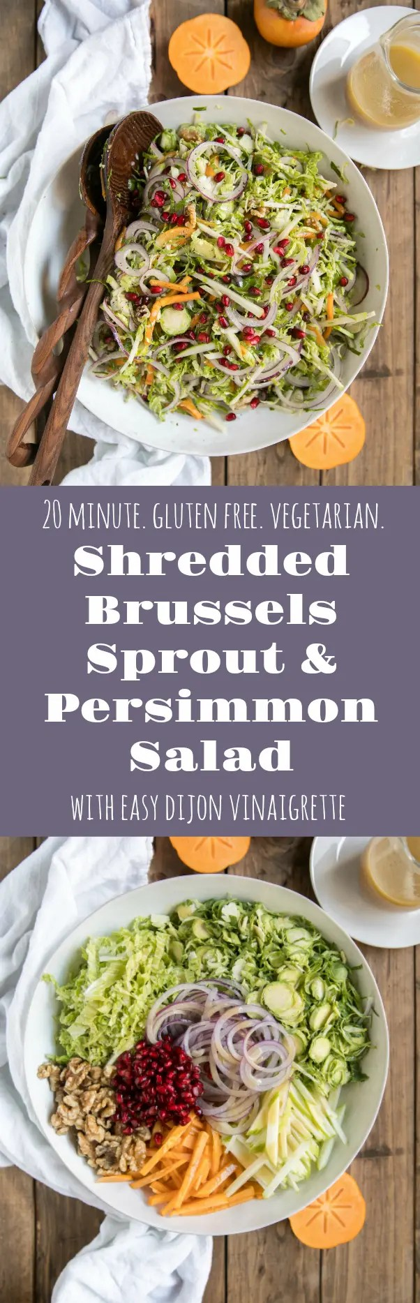 Shredded Brussels Sprout Persimmon Salad. Filled with some of falls finest like pomegranates, walnuts, pomegranates, apples, Brussels sprouts and drizzled with light dijon vinaigrette. via @theforkedspoon #brusselssprouts #saladrecipe #dijonvinaigrette #vegetarian #healthyrecipe #lowcarbrecipe