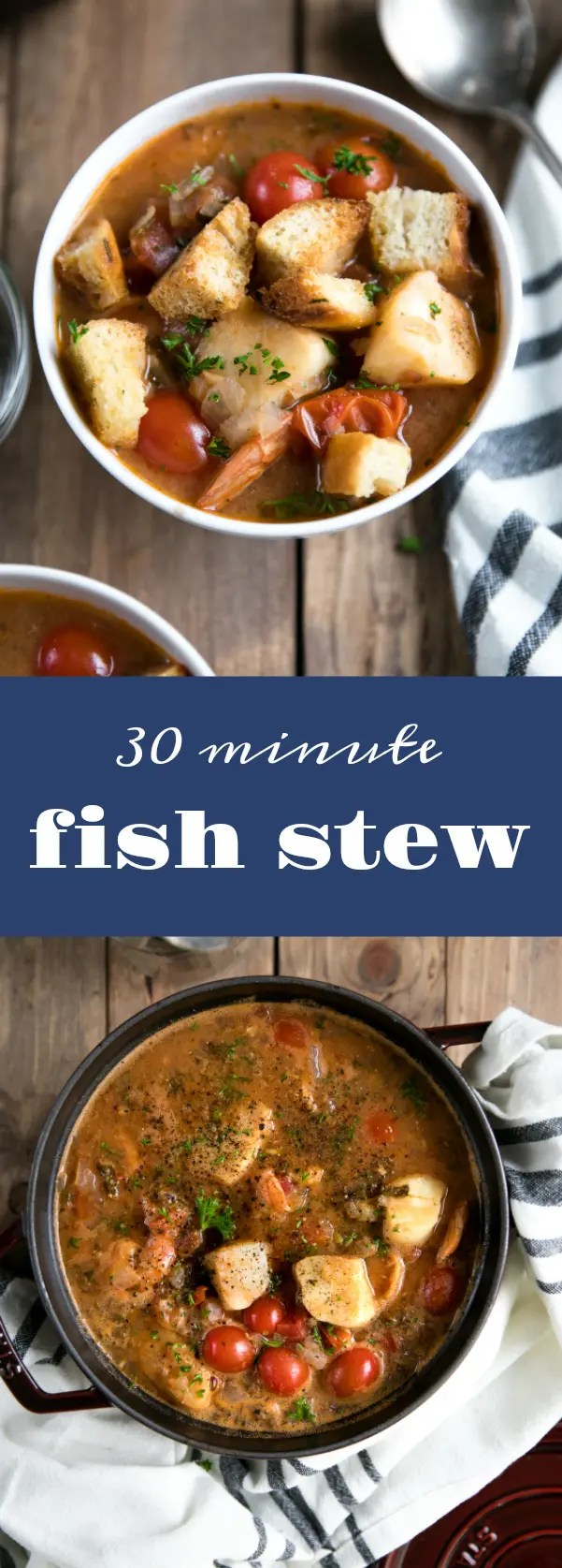 Easy 30 Minute Fish Stew #fish #shrimp #seafood #stew #healthy #30minutes #easyrecipe via @theforkedspoon