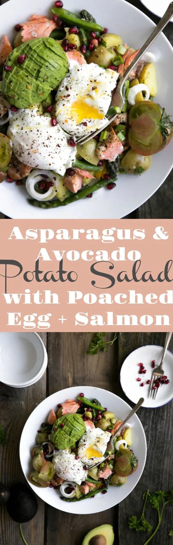 Asparagus and Avocado Potato Salad with Poached Egg and Salmon via @theforkedspoon #salmon #potatosalad #saladrecipe #salmonrecipe #eggs #poachedeggs #asparagus