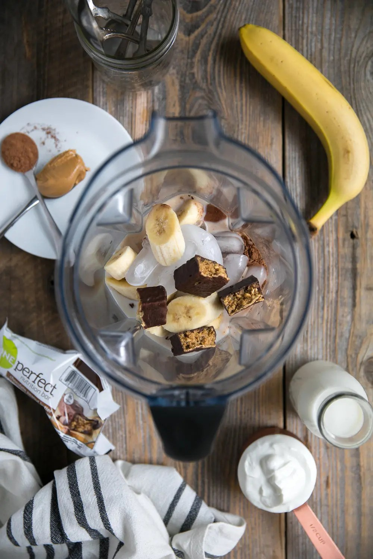 Peanut Butter and Chocolate Milkshake made with Banana, cocoa powder, peanut butter, yogurt, and Chocolate ZonePerfect Nutrition Bars
