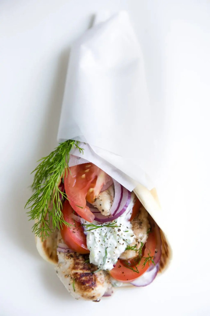 Yogurt Marinated Chicken Gyro with fresh cucumber Tzatziki Sauce wrapped in soft flatbread