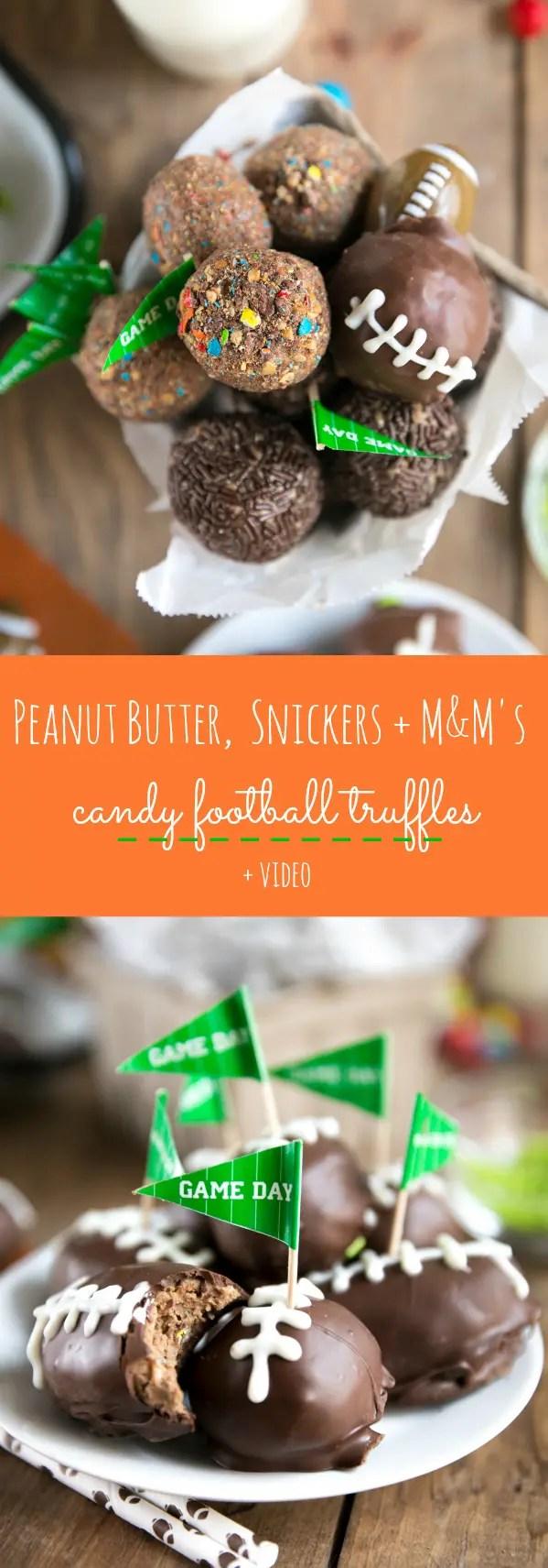 Peanut Butter Snickers and M&M\'s Candy Truffles (+Video) #sponsored #football #treats #snacks #chocolate #peanutbutter #truffles #dessert via @theforkedspoon