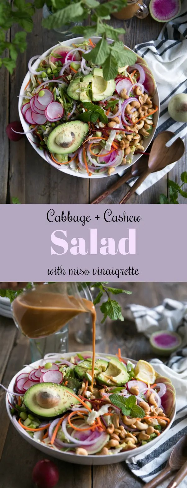 Cabbage and Cashew Salad with Miso Vinaigrette via @theforkedspoon #salad #miso #healthy #cabbage #choppedsalad #avocado #cashews
