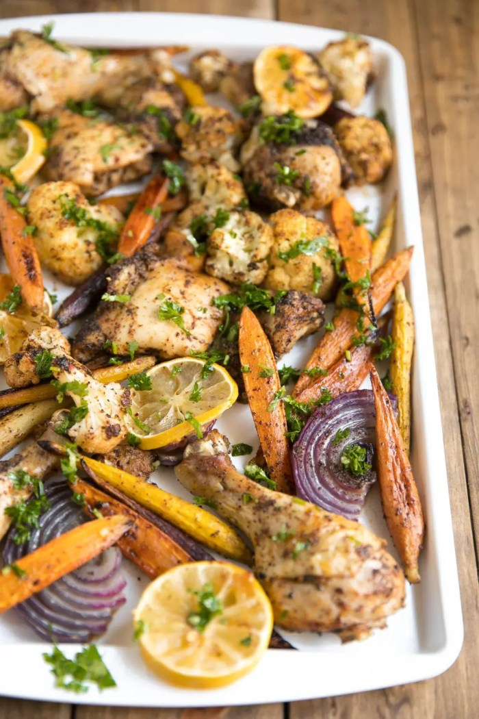 Easy Sheet Pan Sumac Chicken with Lemony Roasted Carrots, Cauliflower and Onion