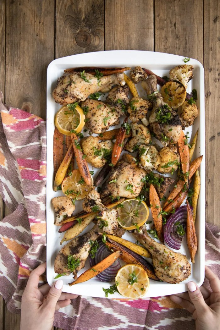 Easy Sheet Pan Sumac ChickenEasy Sheet Pan Sumac Chicken with Lemony Roasted Carrots, Cauliflower and Onion
