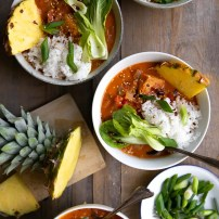 Ready in just 30 minutes, this Pineapple Coconut Thai Fish Curry is rich, comforting, and packed full of chunks of white fish and fresh vegetables. Delicious for dinner or even leftover for lunch, even the kids will love the flavorful broth made even better with sweet pineapple.