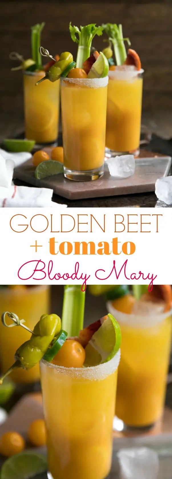 Golden Beet and Tomato Bloody Mary. Cheersto the weekend with this nutrient (and vodka) filled Golden Beet and Tomato Bloody Mary. Made with golden beets, yellow heirloom tomatoes, vodka, and all the fixings, these beautiful Bloody Mary\'s are delicious, and just what your next brunch party calls for. via @theforkedspoon #bloodymary #beets #goldenbeets #brunch #recipe #cocktailrecipe #vodka #easyrecipe #breakfast | For this recipe and more visit, https://theforkedspoon.com/