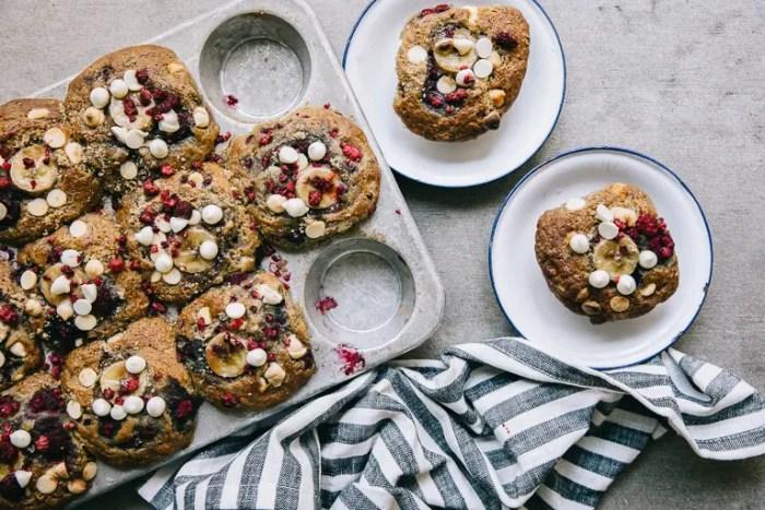 raspberry and banana morning muffins