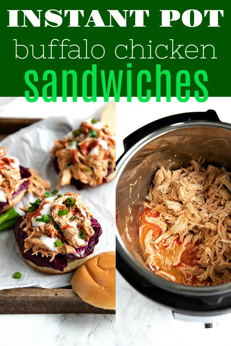 Instant Pot Buffalo Chicken Sandwiches. Ready and on the table in less than 30 minutes, the whole family will love these easy, delicious, and flavorful anytime sandwiches via @theforkedspoon #instantpot #buffalochicken #shreddedchicken #sandwich #FranksRedHotSauce #sandwich #easydinner #recipe #healthy #ranchdressing | For this recipe and more visit, https://theforkedspoon.com