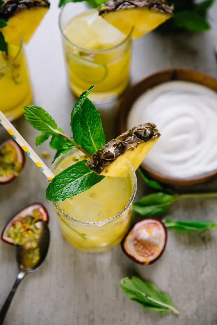 Overhead image of pineapple champagne cocktail