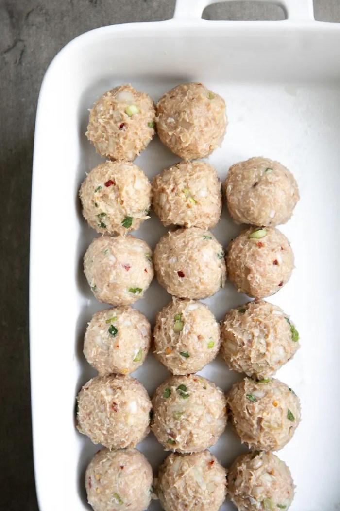 prepared meatballs ready for baking