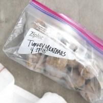 Frozen meatballs in ziplock bag