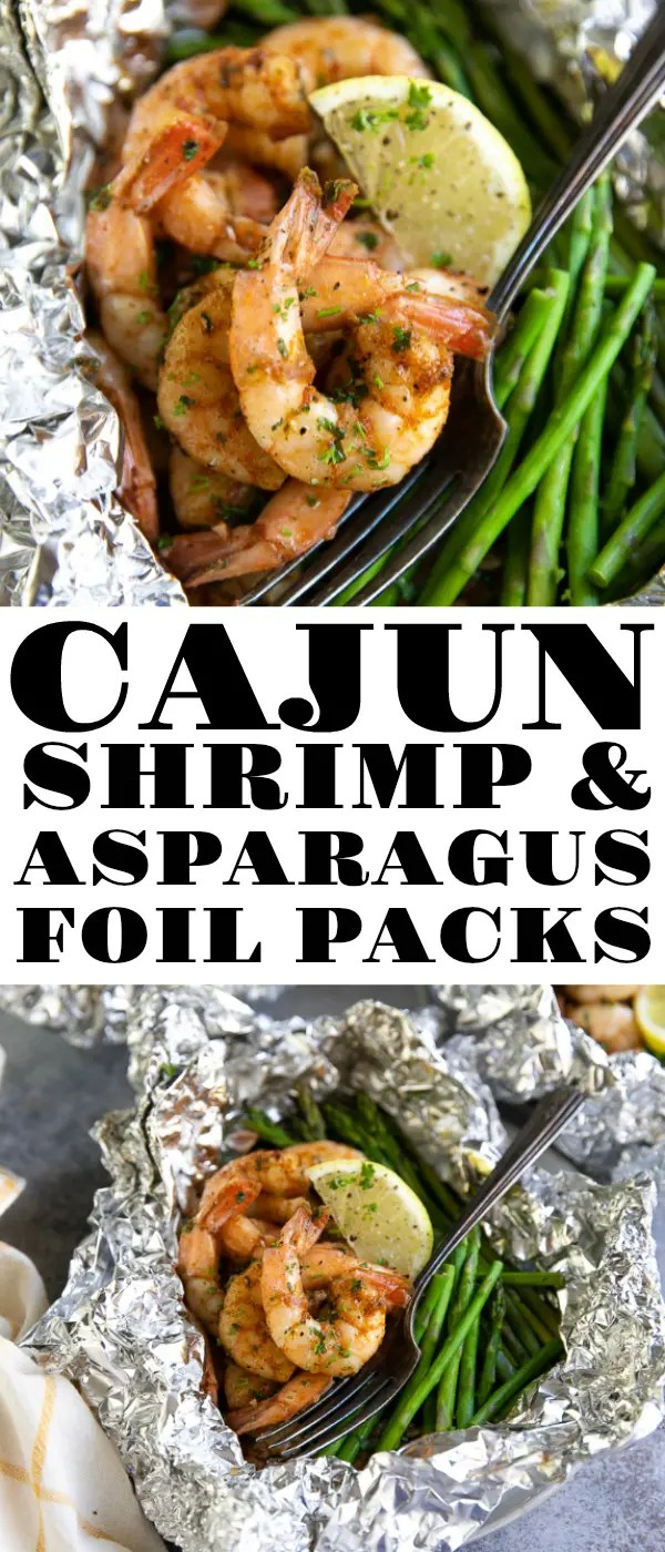 Cajun Shrimp Foil Packets with Asparagus is a flavorful and healthy shrimp recipe that can be cooked on the grill or in the oven for a fun and delicious 20-minute meal #shrimp #asparagus #shrimpfoilpacket #grilledshrimp #lowcarb #easyrecipe #healthyrecipe #glutenfree #grill #foilpacket #seafoodrecipe | For this recipe and more visit, https://theforkedspoon.com