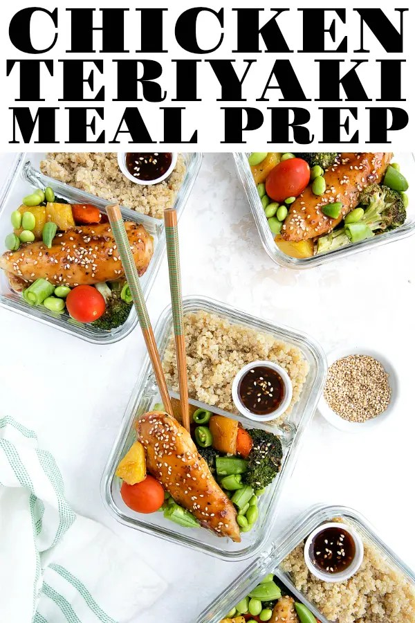 Chicken Teriyaki Meal Prep, made with lean chicken breast tenders, roasted vegetables, and quinoa, is an easy and healthy way to start any week. Use homemade or storebought teriyaki sauce for this fast and delicious 30-minute meal prep idea. #mealprep #mealprepideas #chickenteriyaki #chickendinner #lunchideas #chickenquinoabowls #easydinnerideas #chickenterikakimealprep #glutenfree | For this recipe and more visit, https://theforkedspoon.com