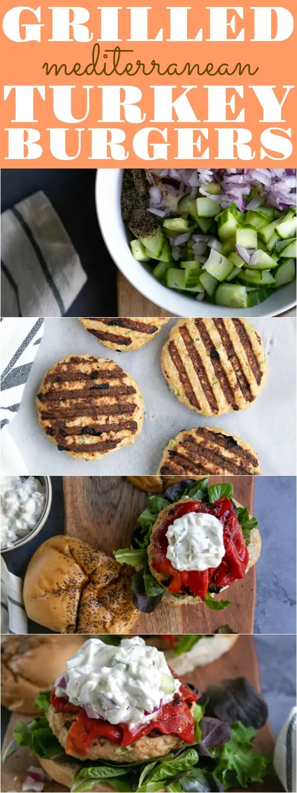 Mediterranean Grilled Turkey Burgers are an easy and delicious ground turkey recipe loved by the whole family. Topped with roasted red peppers, fresh greens, and a refreshing cucumber yogurt sauce, these Mediterranean Turkey Burgers are guaranteed to be an instant favorite #turkey #groundturkey #turkeyburgers #mediterranean #mediterraneanrecipe #easyrecipe #grilledrecipe #cucumberyogurt #roastedredpeppers | For this recipe and more visit, https://theforkedspoon.com