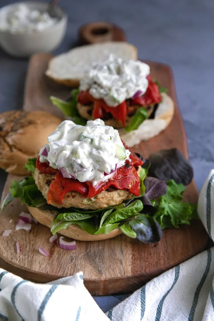 Mediterranean Grilled Turkey Burgers with roasted red bell peppers
