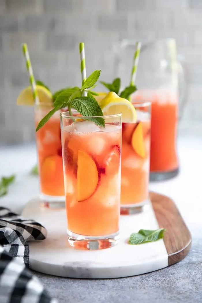 Peach Strawberry Lemonade Recipe with less added sugar