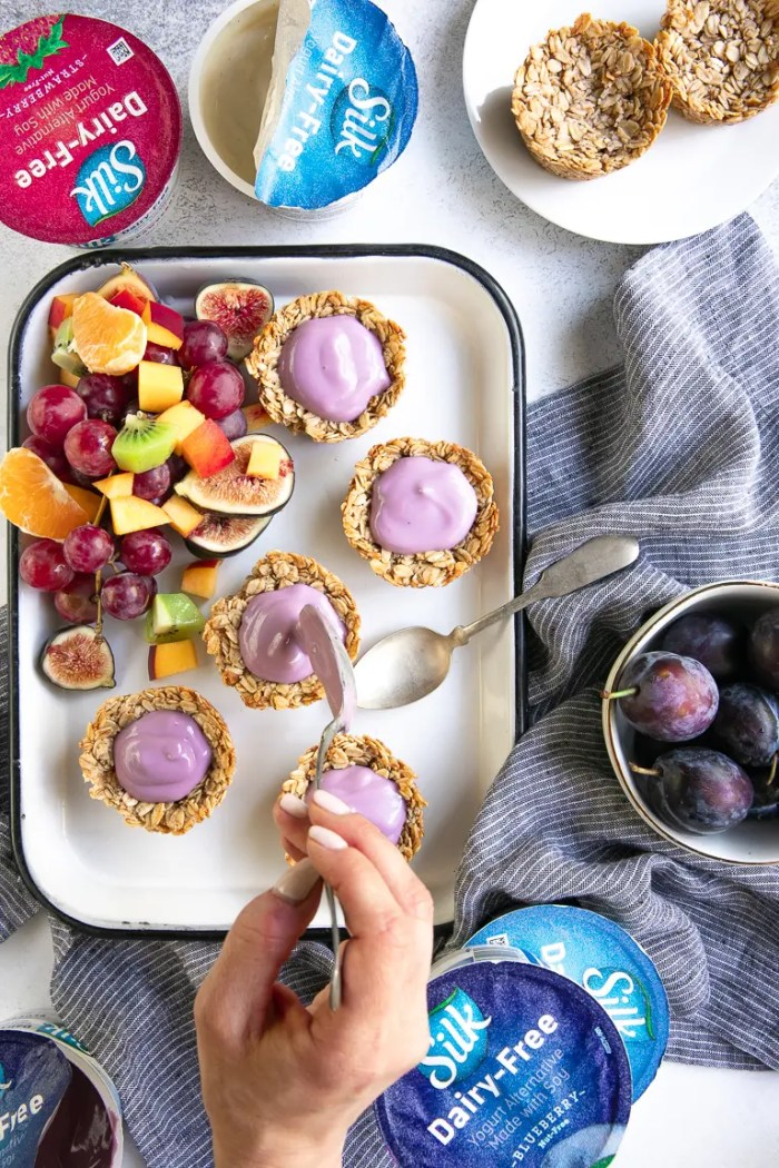 Baked oatmeal cups with blueberry dairy-free Silk yogurt