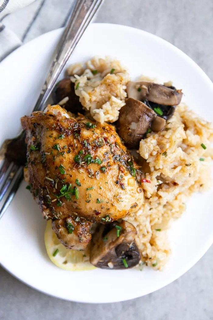 Rice, mushrooms and cajun chicken plated on a white serving plate