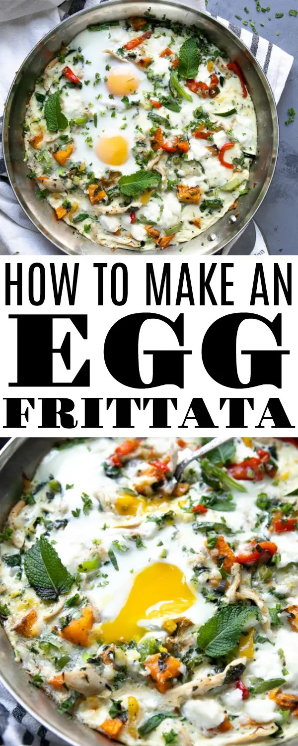 Easy Egg Frittata (How to Make an Egg Frittata) Filled with chunks of butternut squash, leftover chicken, bell pepper, and fresh herbs. #breakfast #glutenfree #lowcarb #whole30 #chickenrecipe #frittata #howtomakeafrittata #breakfastrecipe | For this recipe and more visit, https://theforkedspoon.com/egg-frittata-recipe