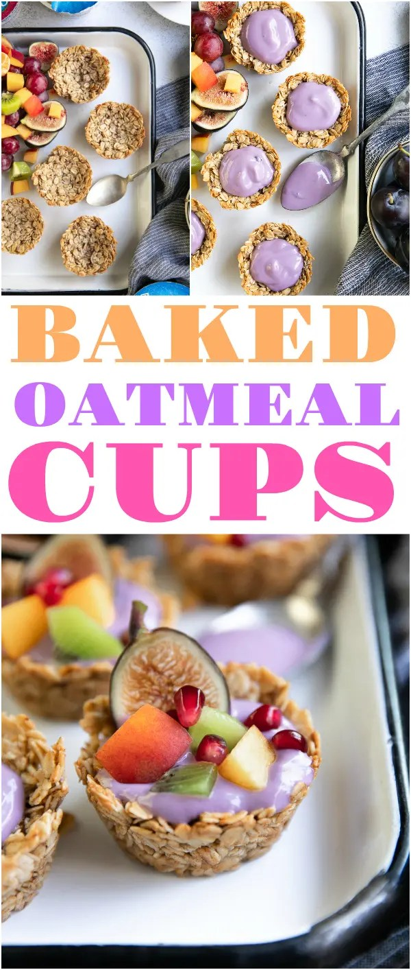 Baked Oatmeal Cups with Yogurt and Fresh Fruit are a fun and easy breakfast recipe loved by the whole family. #ad @Silk #dairyfree #glutenfree #breakfast #healthybreakfastrecipe #oatmealmuffins | For this recipe and more visit, https://theforkedspoon.com/baked-oatmeal-cups