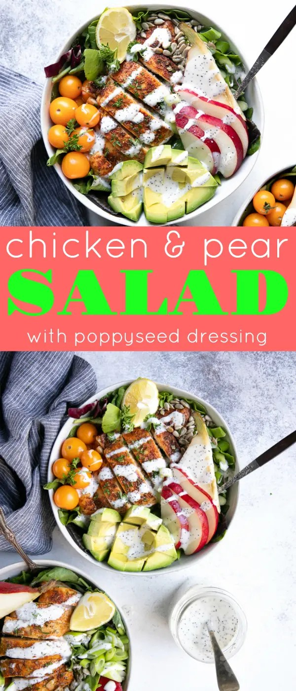 Autumn Chicken and Pear Salad with Poppyseed Dressing- fresh mixed greens, crispy bacon, juicy cajun seasoned chicken, and sliced pears #salad #chickensalad #pearsalad #poppysalad #lowcarb #fallrecipe #easyrecipe | For this recipe and more visit, https://theforkedspoon.com/autumn-chicken-and-pear-salad