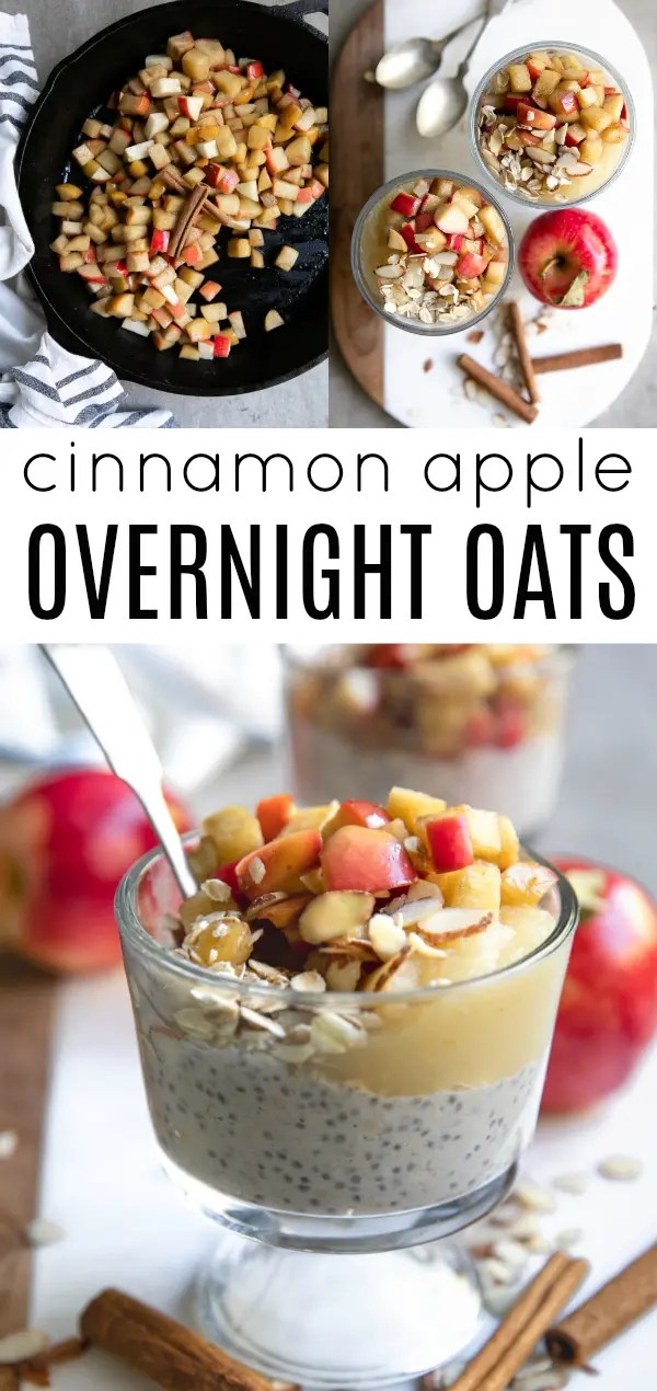 Apple Cinnamon Overnight Oats- filled with vanilla overnight oats, applesauce, and fried apples, these yummy overnight oats can be enjoyed for breakfast, lunch, or dessert. #breakfast #glutenfree #overnightoats #apples #applerecipes #applesauce #friedapples #vegetarian #oatmealrecipe | For this recipe and more visit https://theforkedspoon.com/apple-cinnamon-overnight-oats