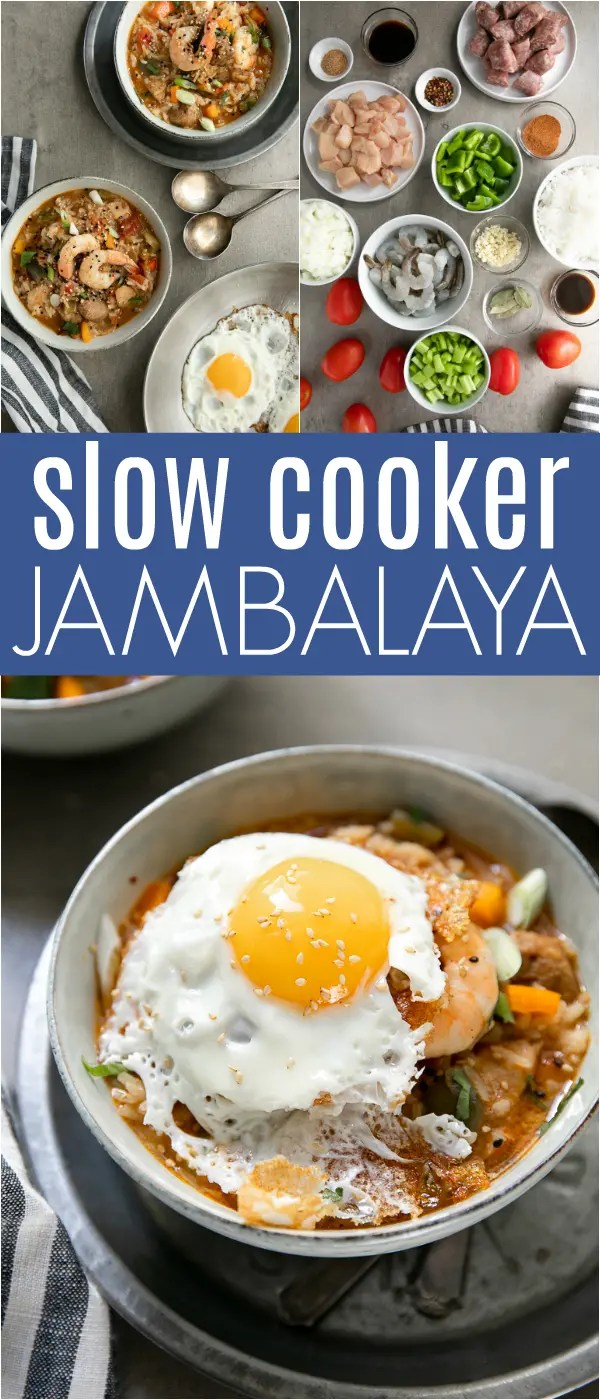 Slow Cooker Jambalaya with juicy chunks of chicken, smoked sausage, and shrimp cook low and slow in traditional, flavorful seasoning and spices for an easy one-pot meal. Top your next bowl of Slow Cooker Jambalaya with a fried egg for a truly impressive, and equally easy, meal loved by the whole family. #jambalaya #slowcooker #easyrecipe #cajun #creole   For this recipe and more visit, https://theforkedspoon.com/slow-cooker-jambalaya-stew