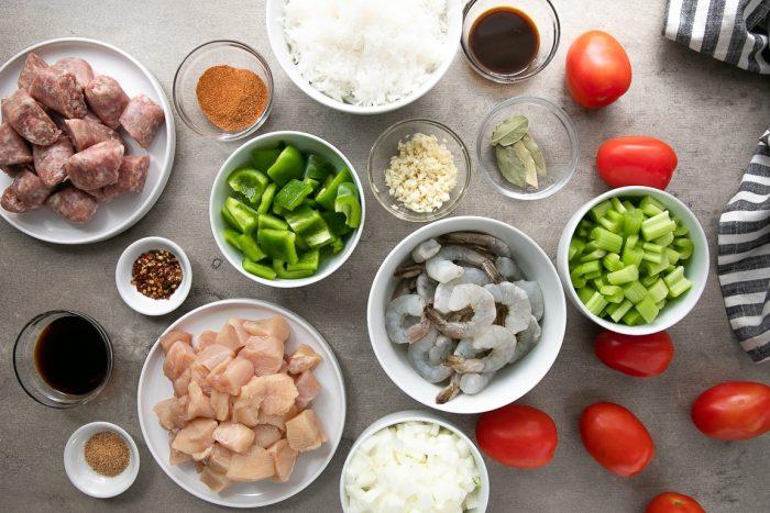 table with the ingredients need to make jambalaya