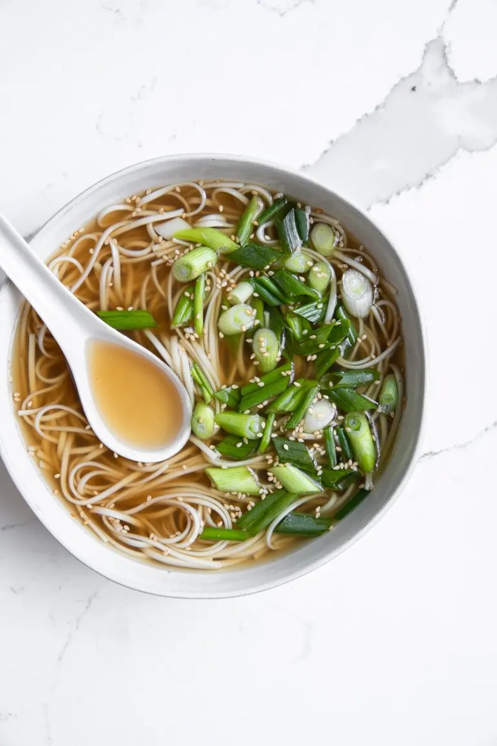 Bowl of bone broth served with udon noodles, green onions, and sesame seeds.