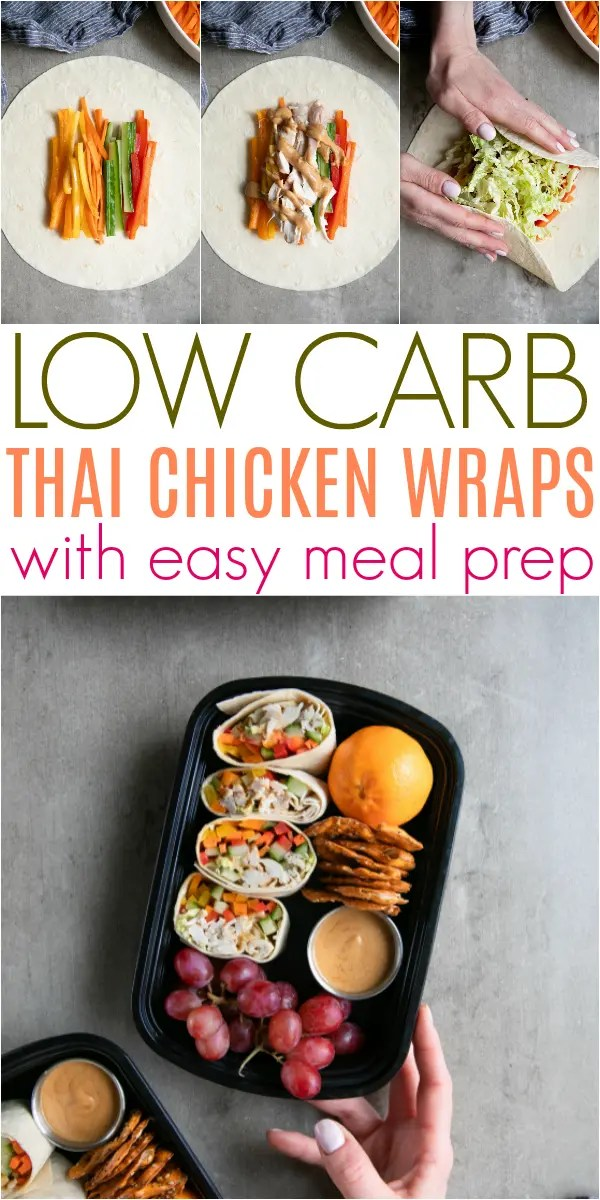 Low Carb Thai Chicken Wraps with Peanut Sauce and Easy Meal #sponsored #Safeway #mealprep #chickenwraps #thaipeanutsauce #peanutbutter #lowcarb Full Recipe data-recalc-dims=