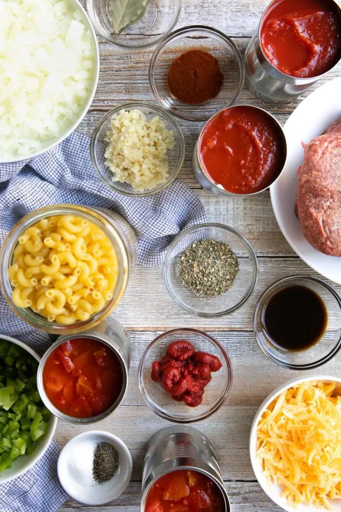 Overhead image of ingredients needed to make American Goulash.