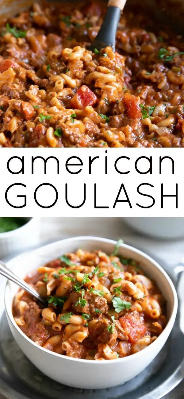 Easy American Goulash Recipe (One-Pot) #goulash #americangoulash #groundbeef #beef #easydinner #onepot #macaroni #tomatosauce | For this recipe and more visit, https://theforkedspoon.com/american-goulash/
