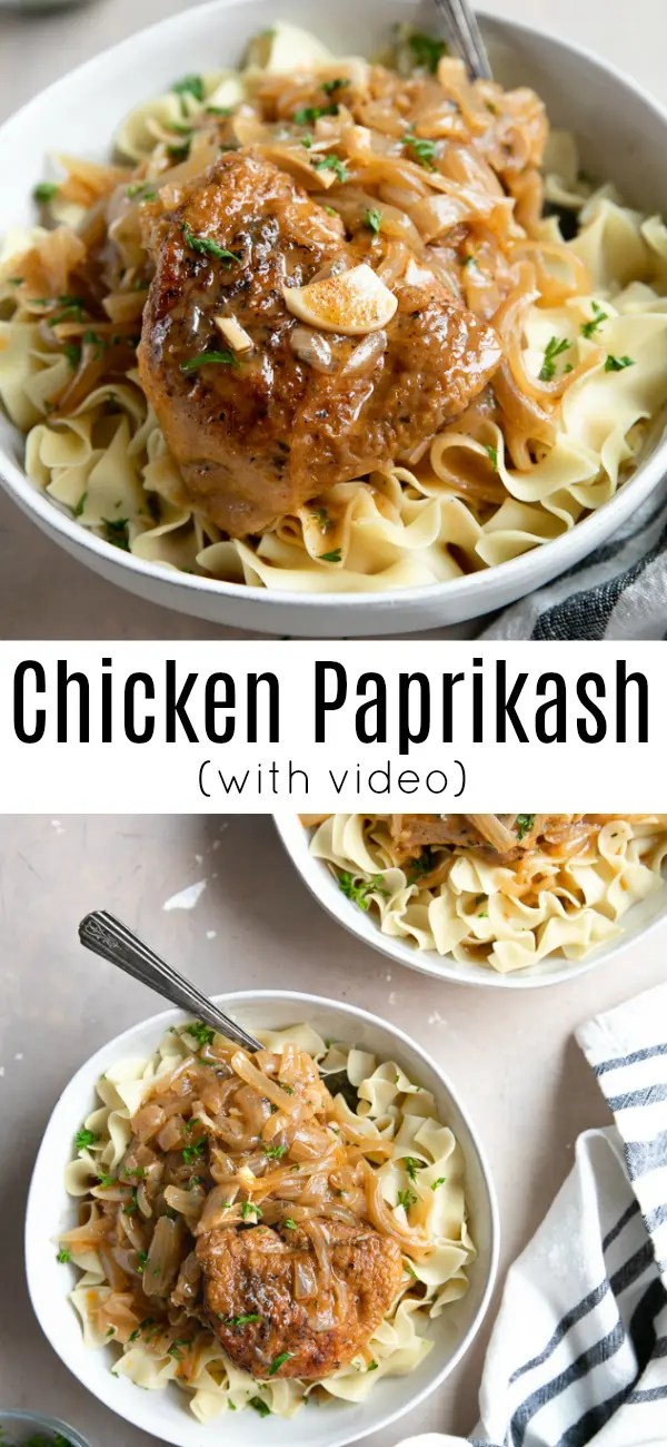 Easy Chicken Paprikash Recipe (+video) #chickenpaprikash #chicken #easyrecipe #hungarianchickenpaprika #paprika #paprikachicken #eggnoodles | For this recipe and more visit, https://theforkedspoon.com/chicken-paprikash-recipe