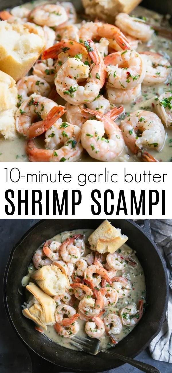 Easy Shrimp Scampi Recipe #shrimpscampi #shrimprecipe #easyshrimprecipe #seafood #lowcarb #glutenfree #easydinner | For this recipe and more visit, https://theforkedspoon.com/shrimp-scampi-recipe/