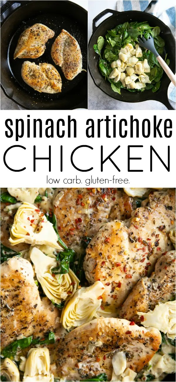 One Pan Creamy Spinach Artichoke Chicken Recipe #chicken #artichokehearts #spinach #chickenskillet #onepanmeal #30minutemeal #easydinner #artichokechicken   For this recipe and more visit, https://theforkedspoon.com/30-minute-spinach-and-artichoke-chicken