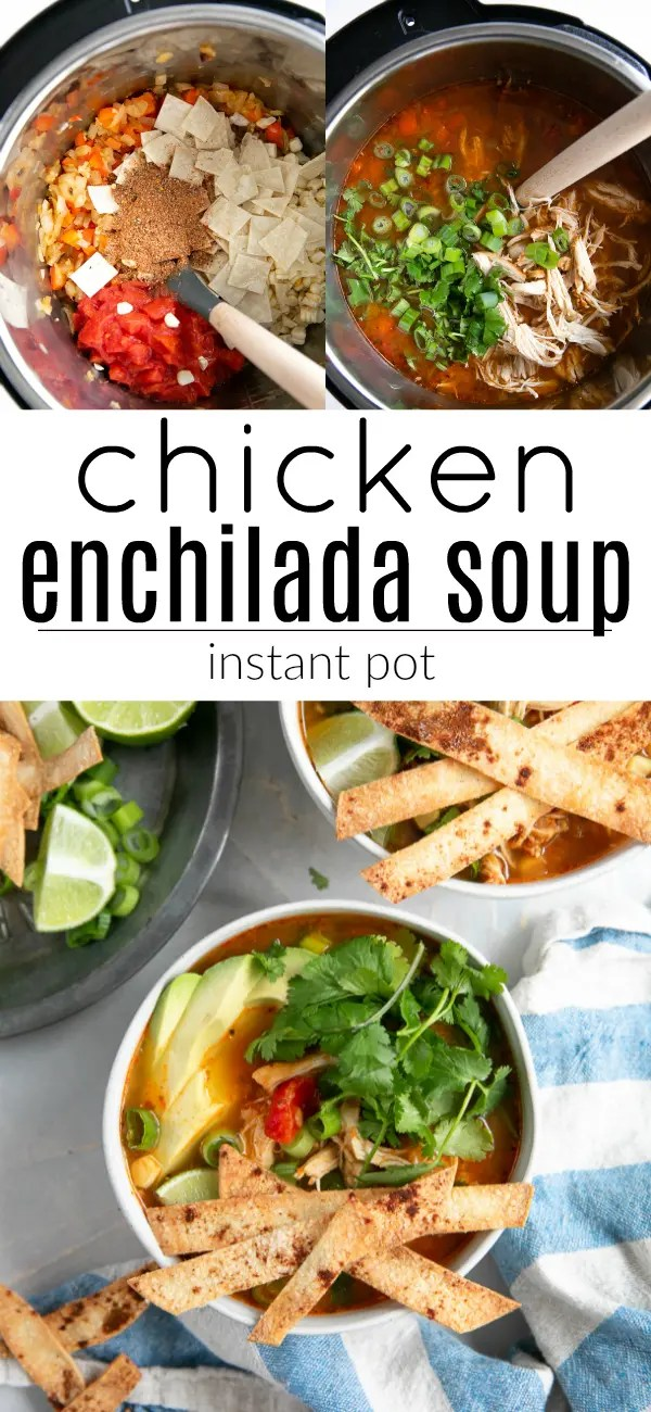 Instant Pot Chicken Enchilada Soup #glutenfree #dairyfree #chickenenchiladasoup #enchiladasoup #chickensoup #enchiladasauce | For this recipe and more visit, https://theforkedspoon.com/chicken-enchilada-soup
