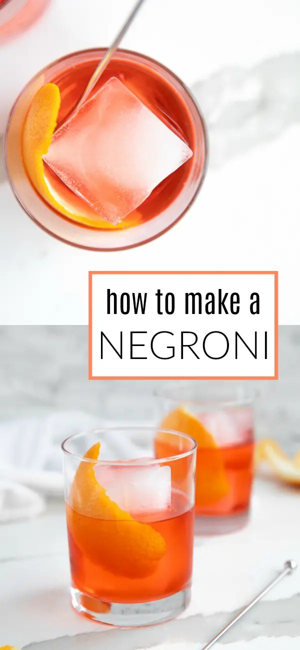 Classic Negroni Recipe #negroni #gin #negroniweek #campari #negronirecipe #vermouth #cocktail #easycocktail | For this recipe and more visit, https://theforkedspoon.com/negroni-recipe/