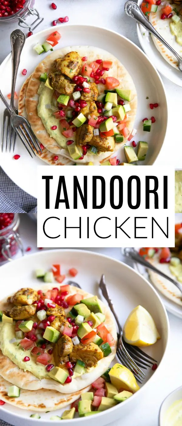 Tandoori Chicken Gyros with Curried Yogurt Sauce #tandoorichicken #chickengyros #tandoori #chickendinner #tandoorimarinade #curry #curriedyogurtsauce | For this recipe and more visit, https://theforkedspoon.com/tandoori-chicken-gyros/