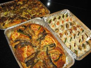 Blue Cheese, Balsamic & Walnut Focaccia and a Gilled Vegetable Focaccia & Italian Style Sushi.
