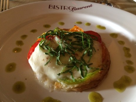 Tomato Cheese Basil Tart from Bistro Laurent Paso Robles CA