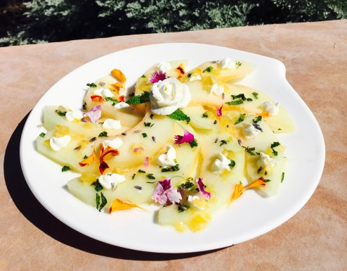 Melon with Preserved Lemon, Lavender and Cream Cheese