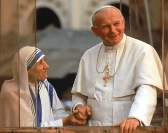 Mother Teresa with Pope John Paul II
