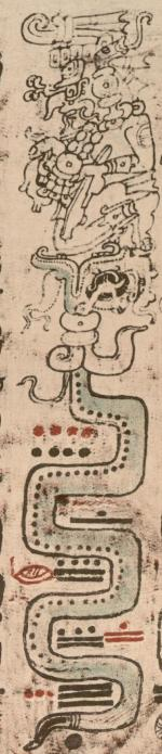 Chak sends the fire serpent (lightning) from the sky, from the Dresden Codex
