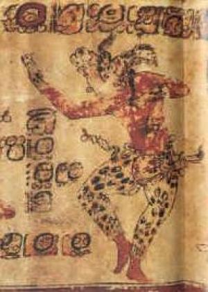 A dancing shaman transforms himself into a jaguar. From a late classic era vase found at Altar de Sacrificios. Source http://shortstreet.net/Maya/mayapaintedvases.htm