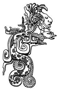 An ancestor brings wisdom through the vision serpent. Feathered Serpent Diety, detail of Classic Maya lintel at Yaxchilan, from ''A Study of Maya Art'' by Herbert Spinden, 1913 {{PD-US}}